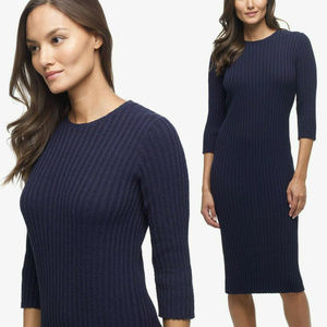 James Perse Stretch Rib Knit Navy Dress Size 1 New